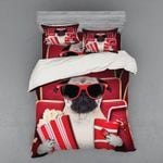 Cute Pug Go To Cinema Bedding Set Bedroom Decor
