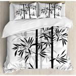 Bamboo Tree Black Printed Bedding Set Bedroom Decor