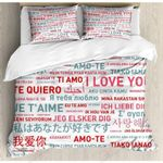 Emotional Messages Foreign Language Printed Bedding Set Bedroom Decor