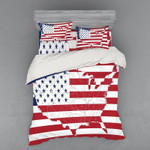 American Flag Map Printed Bedding Set Bedroom Decor