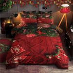 Christmas Red Hat And Bow Printed Bedding Set Bedroom Decor