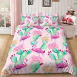 Christmas Flamingo Green Cactus Printed Bedding Set Bedroom Decor