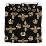Bee Honey Black Background Bedding Set Bedroom Decor