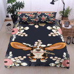 Cute Dachshund And Flower Printed Bedding Set Bedroom Decor