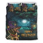 Dachshund Witch Happy Halloween Printed Bedding Set Bedroom Decor