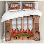 Beautiful Window Red Flowers Printed Bedding Set Bedroom Decor