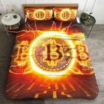 Bitcoin Fire Circle Printed Bedding Set Bedroom Decor