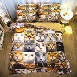 Expression Cats Face Printed Bedding Set Bedroom Decor