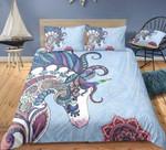 Blue Unicorn Pattern Printed Bedding Set Bedroom Decor