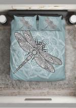 Dragonfly Blue Paisley Lotus Bedding Set Bedroom Decor