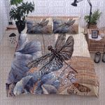 Dragonfly Butterfly White Flower Printed Bedding Set Bedroom Decor