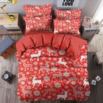 Christmas Deer Snowflake Pattern Bedding Set Bedroom Decor