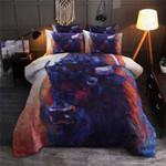 Abstract Bison Dark Blue Color Printed Bedding Set Bedroom Decor