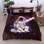 Astronaut Skateboarding Purple Space Printed Bedding Set Bedroom Decor
