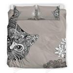 Cat Mandala Gray Background Printed Bedding Set Bedroom Decor