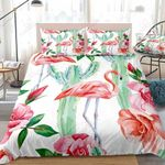 Cactus And Pink Flamingo Printed Bedding Set Bedroom Decor