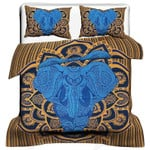 Blue And Gold Elephant Mandala Printed Bedding Set Bedroom Decor