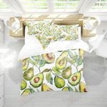 Avocado Pattern White Printed Bedding Set Bedroom Decor