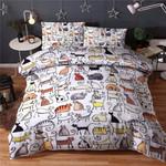 Color Cute Cat Printed Bedding Set Bedroom Decor