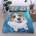 Corgi Blue Background Printed Bedding Set Bedroom Decor
