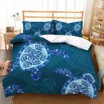 Blue Pattern Printed Bedding Set Bedroom Decor