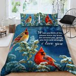 Cardinal Giving You Love And Strength Bedding Set Bedroom Decor