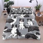 Border Collie Gray Printed Bedding Set Bedroom Decor