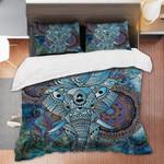 Blue Elephant Mandala Printed Bedding Set Bedroom Decor