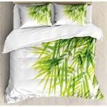 Bamboo Leaf White Printed Bedding Set Bedroom Decor