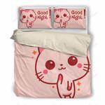 Cat Cute Smile Pink Bedding Set Bedroom Decor