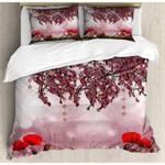 Beautiful Flowers Pink Sky Bedding Set Bedroom Decor