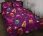 Birthday Balloon Purple Printed Bedding Set Bedroom Decor