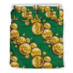 Bitcoin Yellow And Green Printed Bedding Set Bedroom Decor