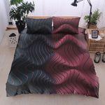Colorful Waves Pink And Black Printed Bedding Set Bedroom Decor