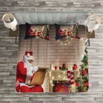 Christmas Santa Reading Paper Printed Bedding Set Bedroom Decor