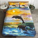 Blue Wave Dolphin Jumping Printed Bedding Set Bedroom Decor