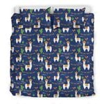 Llama Cactus Pattern Blue Printed Bedding Set Bedroom Decor