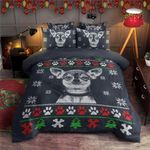 Chihuahua Christmas Red White Paws Printed Bedding Set Bedroom Decor