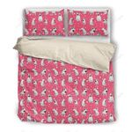 Bull Terrier Pink Dots Printed Bedding Set Bedroom Decor