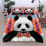Digital Polygon Panda Printed Bedding Set Bedroom Decor