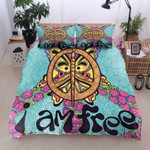 Butterfly Hippie I Am Free Peace Printed Bedding Set Bedroom Decor