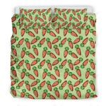 Carrot Patter Green Printed Bedding Set Bedroom Decor