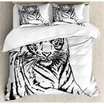 A Tiger Black And White Art Bedding Set Bedroom Decor