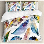 Colorful Feathers Pattern Printed Bedding Set Bedroom Decor