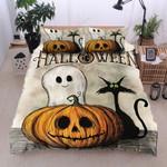 Cat Ghost Pumpkin Halloween Bedding Set Bedroom Decor
