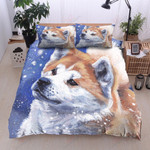 Akita Snow Pattern Bedding Set Bedroom Decor