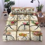 Bicycle Flowers Vintage Printed Bedding Set Bedroom Decor