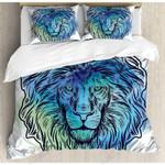 Blue Lion Art Printed Bedding Set Bedroom Decor