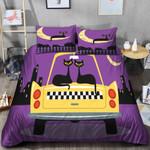 Black Cat Purple Sky Printed Bedding Set Bedroom Decor
