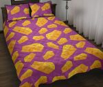 Cheese Yellow And Purple Printed Bedding Set Bedroom Decor